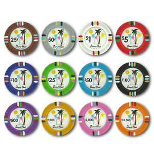 Pick Denominations! New Bulk Lot of 300 Desert Heat 13.5g Clay Poker Chips