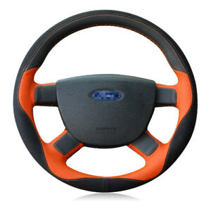 For-Ford-Focus-2011-2014-Top-Leather-DIY-Hand-stitched-Car-Steering-Wheel-Cover