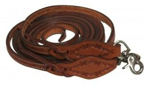 NEW-Showman-8-039-x-5-8-034-Argentina-Leather-Split-Reins-With-Barbed-Wire-Tooling