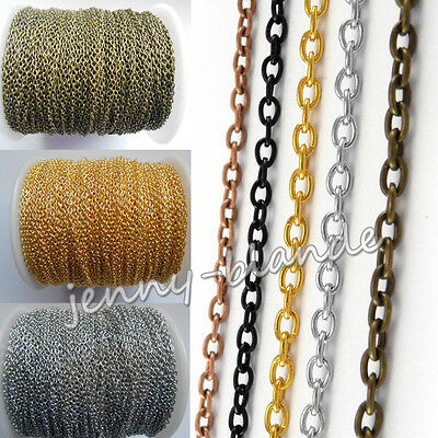 2M//5M//10M//100M Gold//Silver//Gun Black Plated Cable Iron Metal Chains 0.7x3x2mm