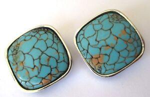 Appris Boucles D'oreilles Clips Bijou Vintage Couleur Argent Cabochon Turquoise 645