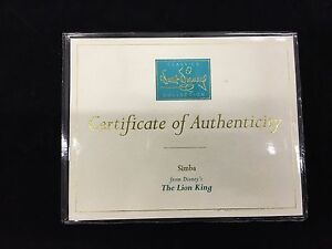 """WDCC Disney Certificate of Authenticity """"Simba"""" The Lion King"""
