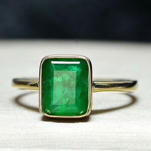 925-Sterling-Silver-Natural-Colombian-Emerald-Octagon-Shape-Handmade-Ring