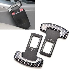 2Pcs-Auto-Sicherheitsgurt-Schnalle-Alarmstopper-Kohlefaser-Clip-Klammer