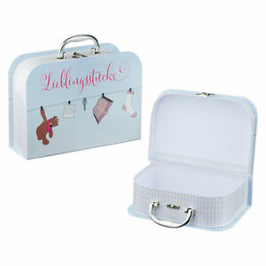 2-St-Lieblingsstuecke-Kinderkoffer-Spielkoffer-Metallgriff-Pappkoffer-Reisekoffer