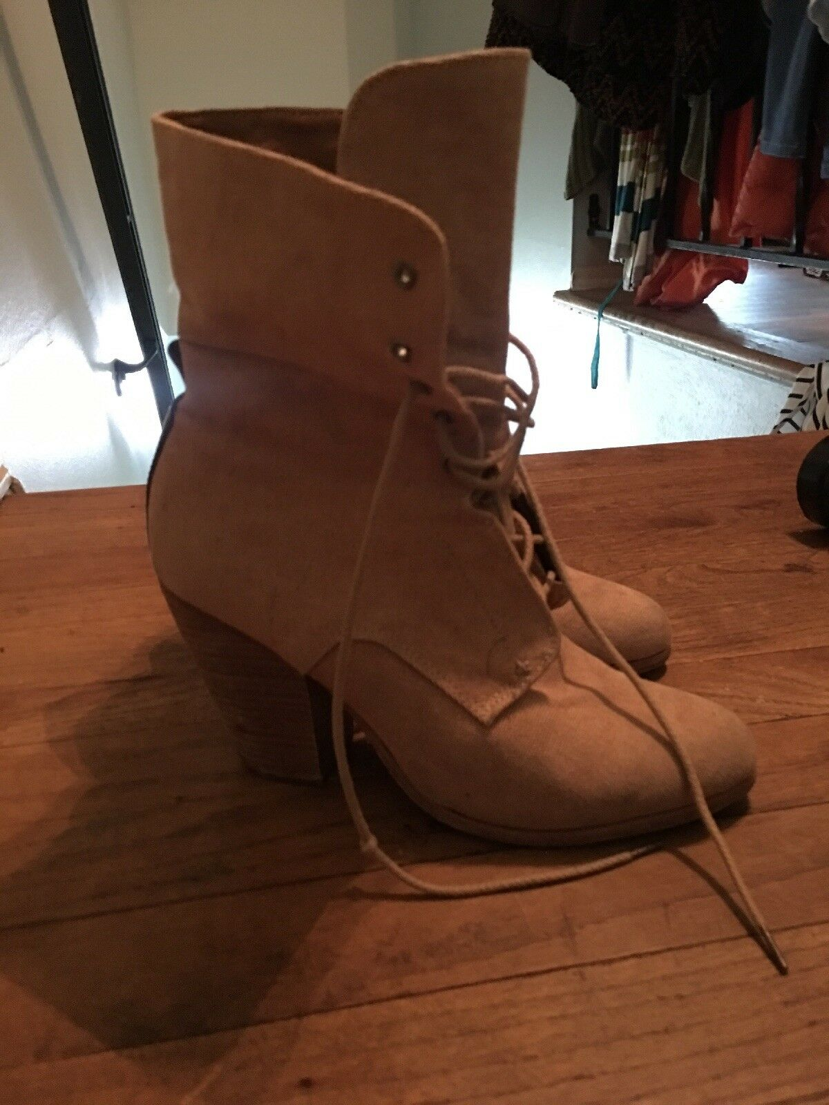 Rag And Bone Boots 39.5 Canvas Leather Back Tie Up Closure