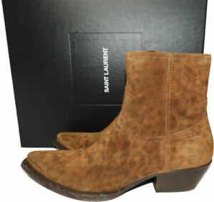 1190-Ysl-Saint-Laurent-LUKAS-Western-Leopard-Ankle-Boots-Riding-Bootes-37-5