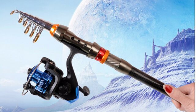 1pc Portable Carbon Fiber Telescope Fishing Rod Sea Rock Travel Spinning Pole JL