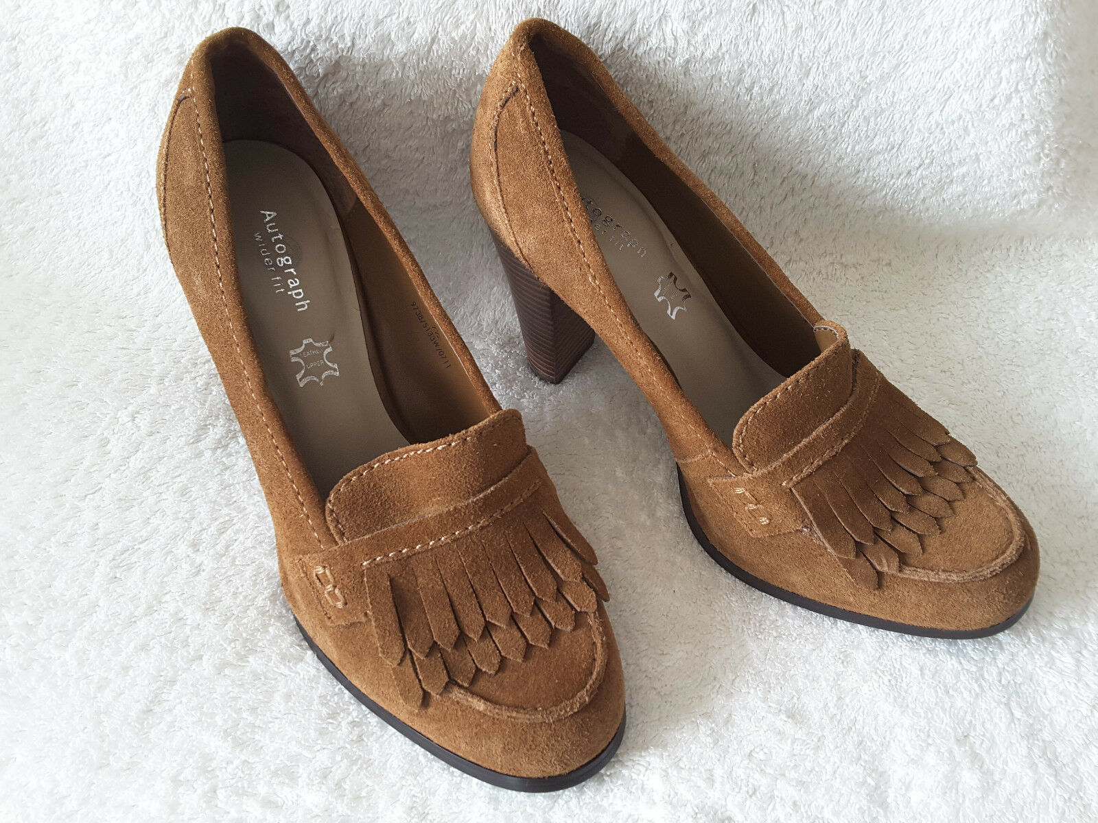 M&S Autograph Light Brown Fringe Front Suede Chunky Court shoes UK 7 (41) NEW