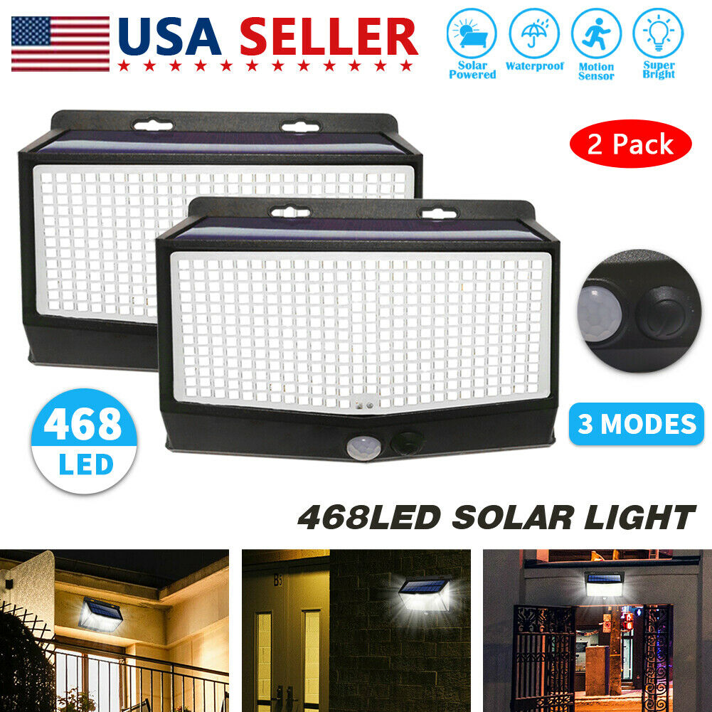 468 LED PIR Motion Sensor Wall Light Solar Power Waterproof Outdoor Garden Lamp