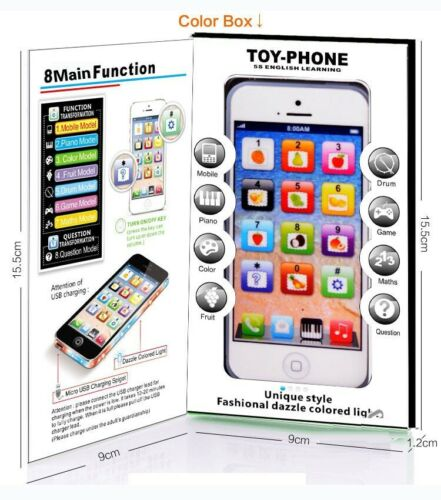 Kids Toy Phone New Educational English Learning Toy Mobile Phone Black//White