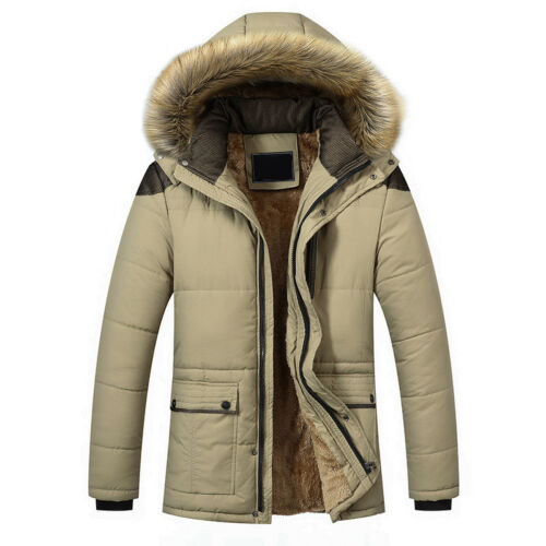 Men/'s Winter Down Jacket Warm Thick Fur Collar Outerwear Hooded Coat Size M-5XL