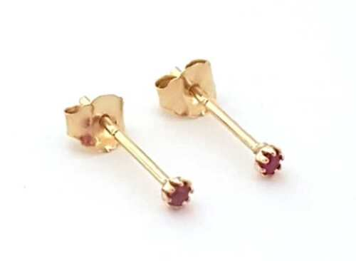 Kids Girls 9ct Gold Extra Tiny Small 1.5mm Round RUBY Studs Earrings B/'Day GIFT