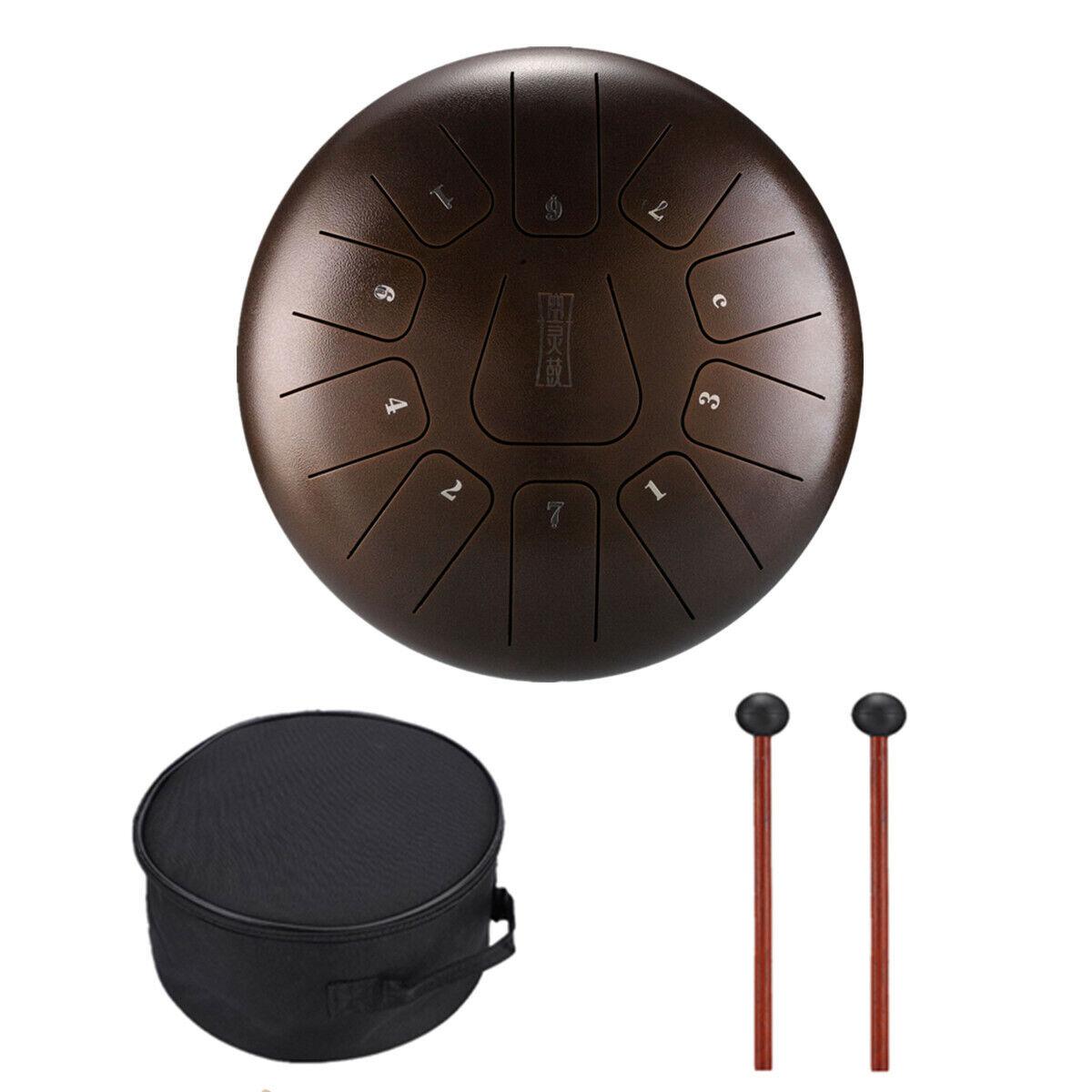 12''Steel Tongue Hand Drum 11 Notes Handpan Tank Percussion Instrumentat Bronze