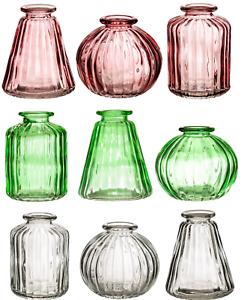 Sass & Belle Set of 3 Glass Bud Vases Amber Pink Glass Flower Vase Pot Holder