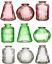 thumbnail 1 - Sass & Belle Set of 3 Glass Bud Vases Amber Pink Glass Flower Vase Pot Holder