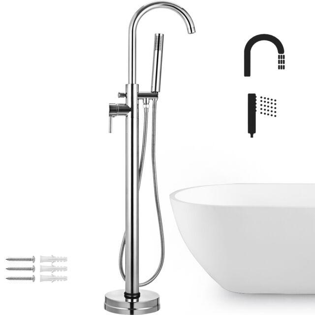 Standing Brushed Floor Mount Clawfoot Bath Tub Filler Faucet Hand