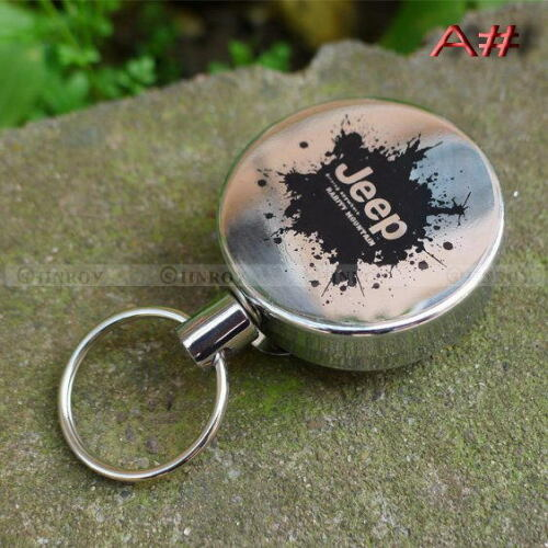 Retractable Metal Key Chain Card Badge Holder Steel Recoil Ring Belt Clip
