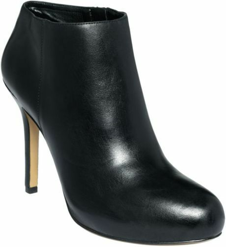 NEW in BOX Nine West BLACK LEATHER FESS UP Ankle Booties Stiletto Stiefel 12M