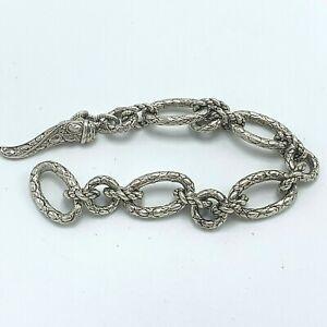 JAI-John-Hardy-Crocodile-Link-Bracelet-Sterling-Silver-Toggle-Clasp-Size-7
