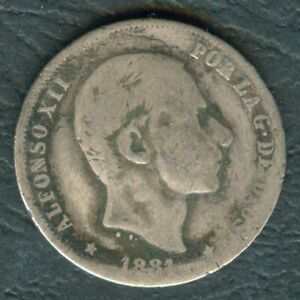 1881-Spanish-Philippines-20-Centimos-ALFONSO-XII-Filipinas-SILVER-Coin-AA5
