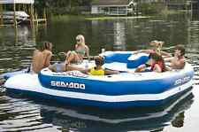 Sea Doo Mega Island 8 Person Inflatable Party Raft Water Lake Float w 4 Speakers