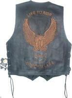 Classic Style Motorcycle Biker Leather Vest Waistcoat Men, Women Eagle Embossed