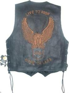 Classic-Style-Motorcycle-Biker-Leather-Vest-Waistcoat-Men-Women-Eagle-Embossed