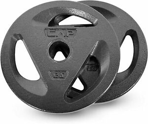 """CAP 50 lb Olympic Weight Plate Set FREE SHIPPING 2x 25 lb Plates Fits 2/"""" Bar"""