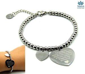 Bracciali da donna in acciaio inox con cuore scritta braccialetto dell amicizia