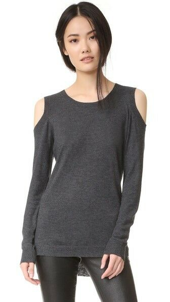 NWOT Feel the Piece 'Remy' Cold Shoulder Sweater - Charcoal - Sz M L -