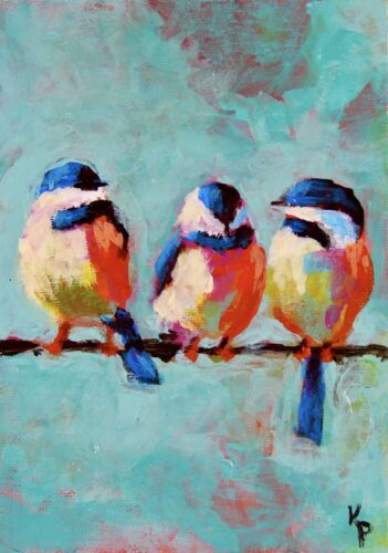 """ACEO ATC Signed Print """"Me And The Chickadees"""" Birds Art Card Artist Trading Card"""