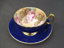 Aynsley Cabbage Rose Cobalt Blue Gold Trim Cup & Saucer English Bone China EXC