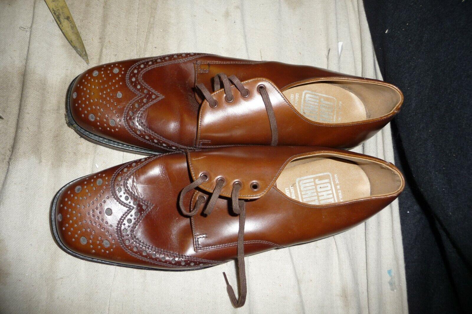 schuhe mens JOHN Weiß all leather braun Größe 9 brogue style