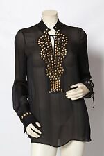GIVENCHY Studded Black & Gold Silk Evening Tunic Top Blouse Sz 40 US 6 M *EUC