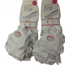 6 Pares De Niñas Blanco De Encaje Con Volantes calcetines Shoe Talla 12-2.5 Aprox 6-9 Años
