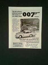 1966 James Bond 007 Airfix Aston Martin Model Cars Vintage Toy Promo Kits Art Ad