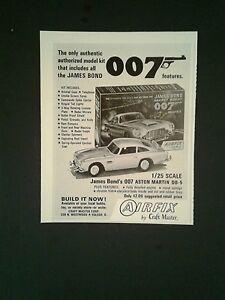 1966 James Bond 007 Airfix Aston Martin Model Cars Vintage Toy Promo