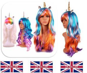 UK-Halloween-70cm-Colorful-Long-Curly-Wig-Rainbow-Unicorn-Gothic-Race-Wig-BQP