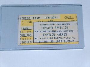Juillet 30 1988 Emmylou Harris US Country Musique Concert Tour Ticket Concord Ca