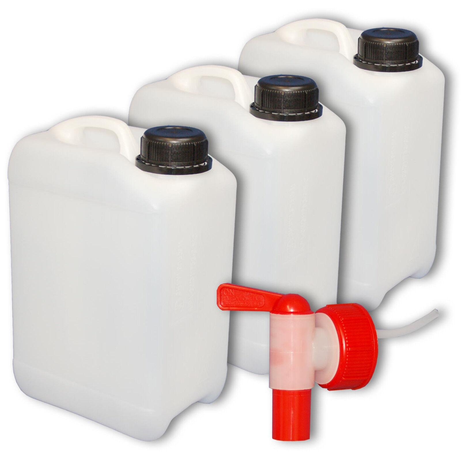 Bidon plastique 3 L - DIN45 + 1 1 1 Robinet, Fabriqué en Allemagne (22005+22039) bf2134