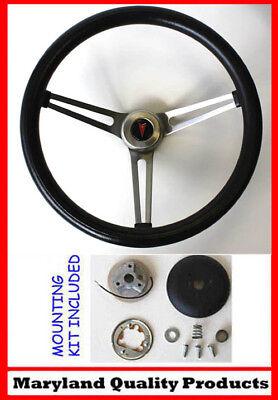 "1964-1966 Pontiac Grand Prix LeMans Black Steering Wheel 13 1//2/"" Chrome New"