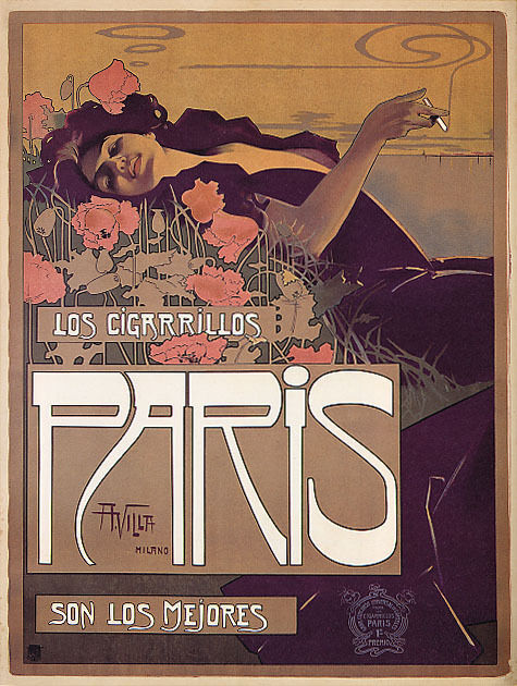 CIGARRILLOS PARIS FRENCH GIRL SMOKING CIGARETTES FRANCE VINTAGE POSTER REPRO