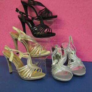 donna tacco DIAMANTE dettaglio Sandalo con cinturini scarpe nero argento