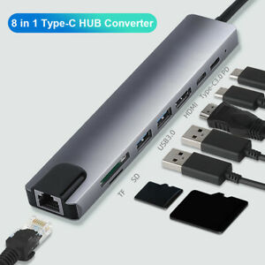 8 in 1 Type-C HUB Converter 4K HDMI 2 USB3.0 USB C PD SD/TF RJ45 Adapter