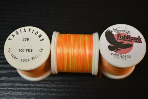 VARIEGATED PEACH Rod Winding Thread Fish Hawk # 22V 1 Spool 100 yards