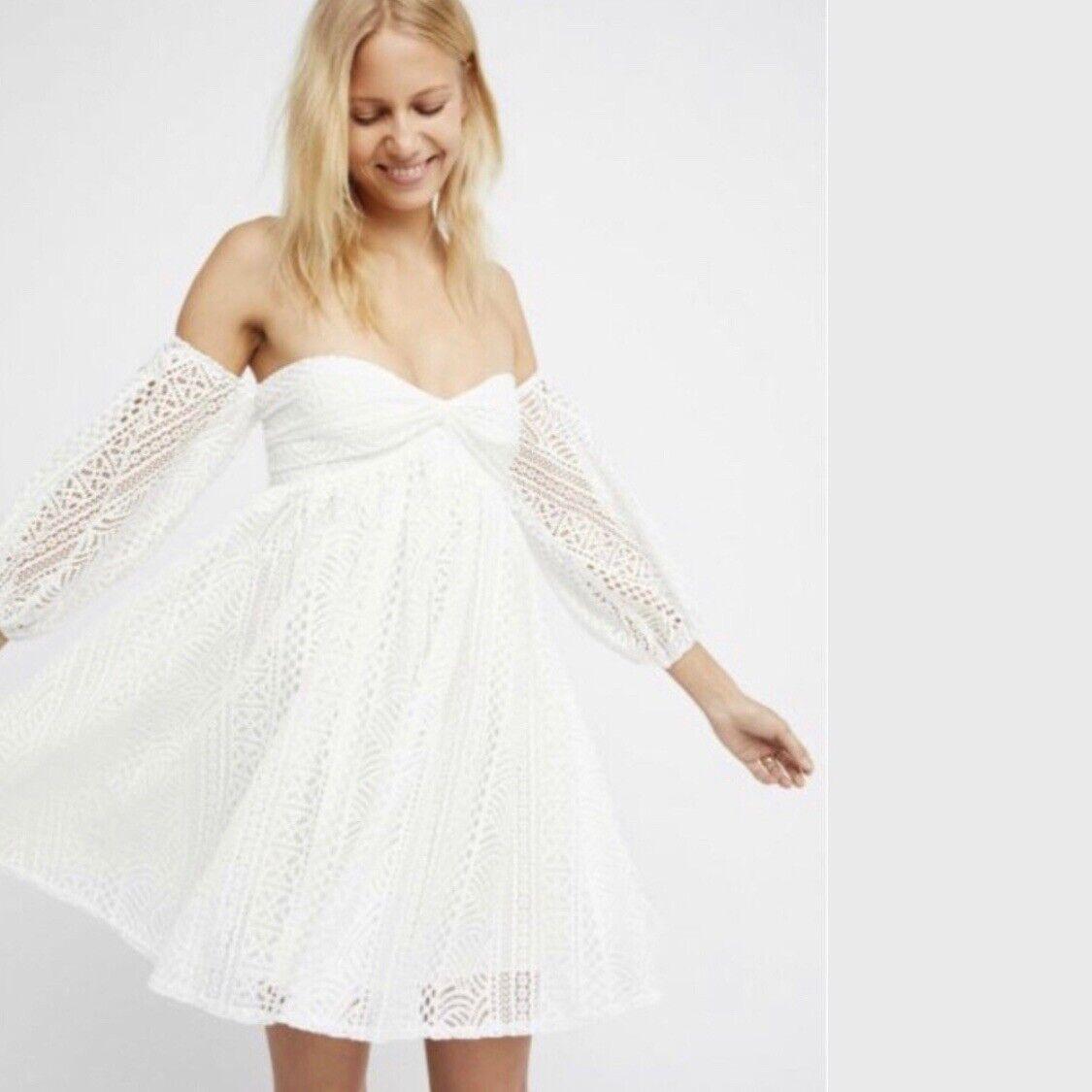 Free People Weiß Emmy Lou Mini Dress Xsmall XS  New NWT
