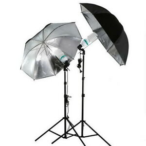 83cm Studio Flash Light Grained Black Silver Umbrella Reflective Reflector LO