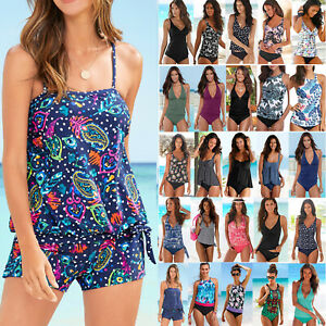 Women-039-s-Tankini-Set-Bikini-Swimsuit-Swimwear-Beach-Bathing-Suit-Swimming-Costume