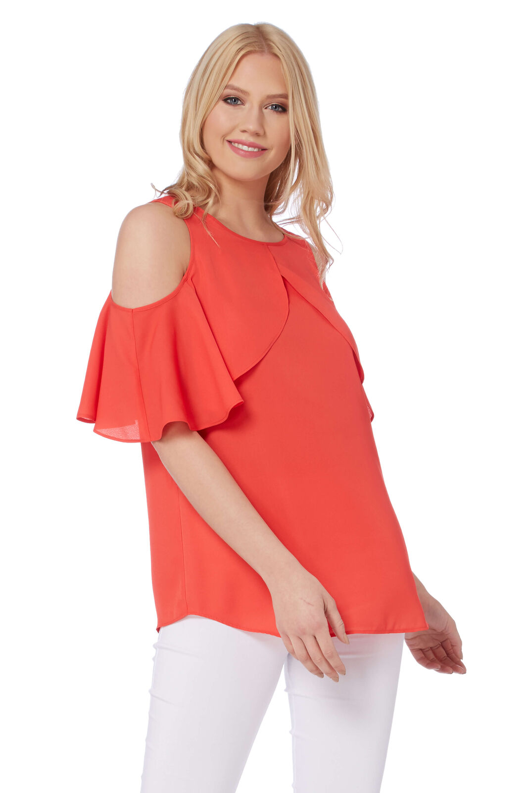 Roman Originals Women's Red Frill Sleeve Cold Shoulder Top Sizes 10-20